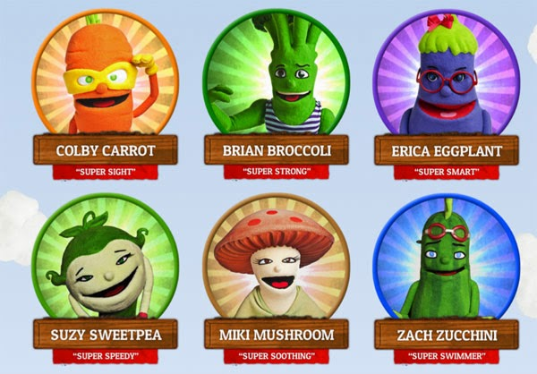 Advertising healthy eating, using vegetable cartoon characters